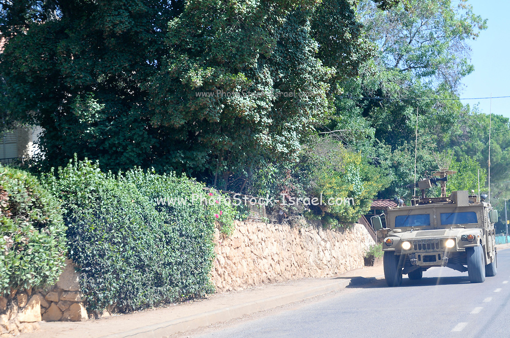 Israel, Upper Galilee, Metula, (founded 1896) is situated on the Lebanese boarder Israeli military vehicle on patrol