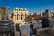 Picture of The library of Celsus. Images of the Roman ruins of Ephasus, Turkey Photos. Stock Picture & Photo art prints 3 .<br /> <br /> If you prefer to buy from our ALAMY PHOTO LIBRARY  Collection visit : https://www.alamy.com/portfolio/paul-williams-funkystock/ephesus-celsus-library-turkey.html<br /> <br /> Visit our TURKEY PHOTO COLLECTIONS for more photos to download or buy as wall art prints https://funkystock.photoshelter.com/gallery-collection/3f-Pictures-of-Turkey-Turkey-Photos-Images-Fotos/C0000U.hJWkZxAbg