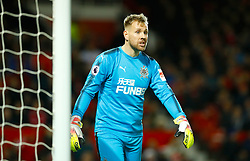 "Newcastle United goalkeeper Rob Elliot during the Premier League match at Old Trafford, Manchester. PRESS ASSOCIATION Photo. Picture date: Saturday November 18, 2017. See PA story SOCCER Man Utd. Photo credit should read: Martin Rickett/PA Wire. RESTRICTIONS: EDITORIAL USE ONLY No use with unauthorised audio, video, data, fixture lists, club/league logos or ""live"" services. Online in-match use limited to 75 images, no video emulation. No use in betting, games or single club/league/player publications."
