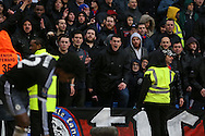 Crystal Palace fans 'Ultras'  shouting abuse at Willian of Chelsea before he takes a corner. Barclays Premier League match, Crystal Palace v Chelsea at Selhurst Park in London on Sunday 3rd Jan 2016. pic by John Patrick Fletcher, Andrew Orchard sports photography.