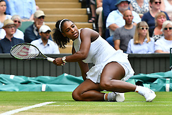 © Licensed to London News Pictures. 09/07/2016.  SERENA WILLIAMS beats ANGELIQUE KERBER in the women's singles finals on centre court on the twelfth day of the WIMBLEDON Lawn Tennis Championships. London, UK. Photo credit: Ray Tang/LNP
