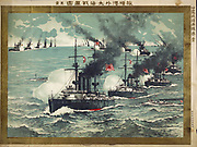 Russo-Japanese War 1904-1905: Surprise attack by Japanese battleships on the Russian fleet at Port Arthur (Lushun) 8 February 1904, battle inconclusive. Naval Bombardment Warship  Transport  Screw Steamer Japanese