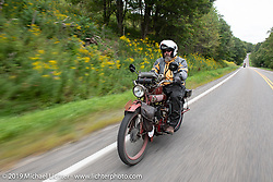 Kevin Naser riding his 1916 Indian Powerplus in the Motorcycle Cannonball coast to coast vintage run. Stage-2 (251-miles) from Keene, NH to Binghampton, NY. Sunday September 9, 2018. Photography ©2018 Michael Lichter.