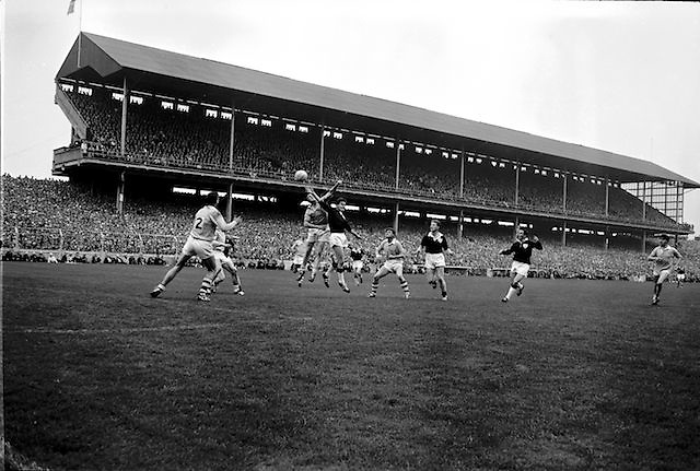All Ireland Senior Football Championship Final, Dublin v Galway, 22.09.1963, 09.23.1963, 22nd September 1963, Dublin 1-9 Galway 0-10,.Foley (left) Dublin Full Back fists ball pressed by Cleary, Galway ,..