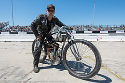 Paul Cox on his 1917 Indian Powerplus before the start of Billy Lane's Son's of Speed race during Daytona Bike Week. New Smyrna Beach, FL. USA. Saturday March 18, 2017. Photography ©2017 Michael Lichter.