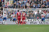 Reading striker Nick Blackman scores a penalty to make it 2-0 during the Sky Bet Championship match between Reading and Middlesbrough at the Madejski Stadium, Reading, England on 3 October 2015. Photo by Jemma Phillips.