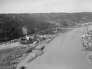 "4619 ""Willamette River at gas plant and St. Johns bridge. February 21, 1940."" DEQ Site ID 84, DEQ Site ID 183, Gasco, Wacker Siltronic site."
