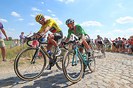 Greg Van Avermaet (BEL - BMC) yellow jersey and Peter Sagan (SVK - Bora - Hansgrohe) on the cobbles of sector 3 during the 105th Tour de France 2018, Stage 9, Arras Citadelle - Roubaix (156,5km) on July 15th, 2018 - Photo George Deswijzen / Proshots / ProSportsImages / DPPI