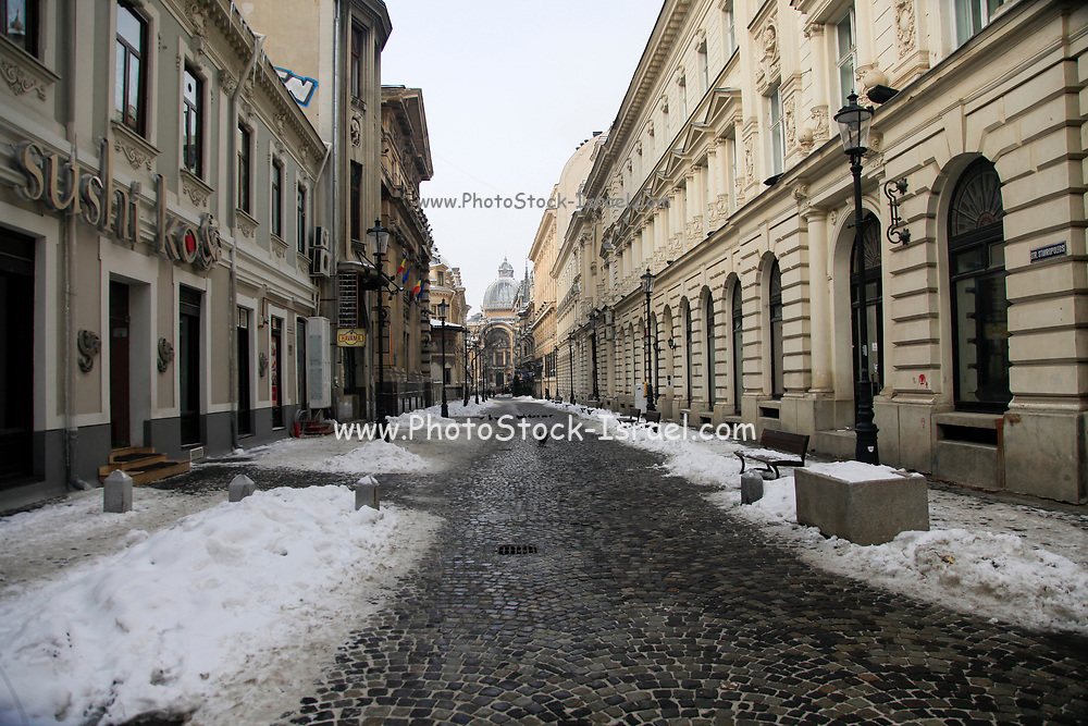 snow covered building, Bucharest Romania in the winter