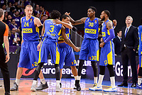 Maccabi Fox's Colton Iverson, Victor Rudd, Andrew Goudelock, Quincy Miller and Sonny Weens during Turkish Airlines Euroleague match between Real Madrid and Maccabi at Wizink Center in Madrid, Spain. January 13, 2017. (ALTERPHOTOS/BorjaB.Hojas)
