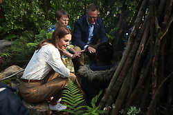 The Duchess of Cambridge with Andree Davies (centre) and Adam White during a visit to her garden at the RHS Chelsea Flower Show at the Royal Hospital Chelsea, London.