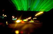 Blur shot of street at night.  Chicago Illinois USA
