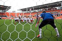 Spanish goalkeeper Iker Casillas visits a BBVA/Dynamo soccer event