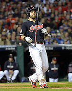 CLEVELAND, OH - OCTOBER 25: Jason Kipnis reacts after lining out during Game 1 of the 2016 World Series against the Chicago Cubs at Progressive Field on Tuesday, October 25, 2016 in Cleveland, Ohio. (Photo by Ron Vesely/MLB Photos via Getty Images)