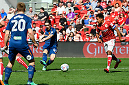 Harry Wilson (49) of Hull City shoots at goal during the EFL Sky Bet Championship match between Bristol City and Hull City at Ashton Gate, Bristol, England on 21 April 2018. Picture by Graham Hunt.