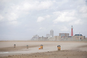 Uitzicht naar Scheveningen vanaf Zuiderstrand tijdens storm..View to the center of Scheveningen from Southbeach during storm, The Hague, Netherlands