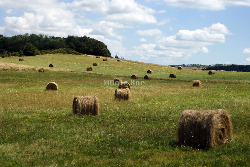hay bales in rural landscape South France Aude