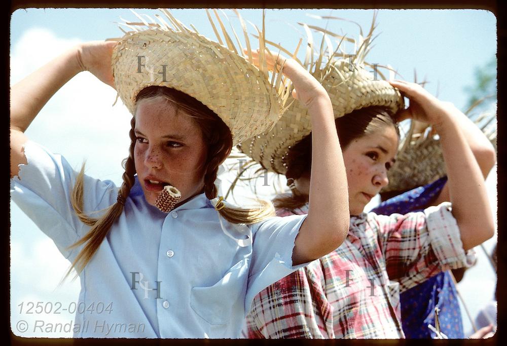 Girls dressed like Huck & Tom await the start of Tomboy Sawyer Contest;Tom Sawyer Days;Hannibal Missouri