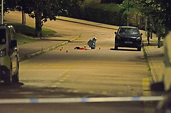 ©Licensed to London News Pictures 25/07/2020     <br /> Chislehurst, UK. A forensic officer working in the road. A male pedestrian has been involved in a collision with a van in Chislehurst, South East London, The van did not stop. The London air ambulance was called but the man sadly died at the scene a police cordon is in place and at this time it is believed the police are linking this incident to the double stabbing at the Gordon Arms pub in Chislehurst. Photo credit: Grant Falvey/LNP
