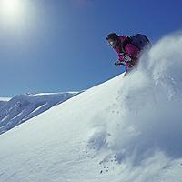 ANTARCTICA. Ski mountaineer Brian Sisselman (MR) in powder snow on Detroit Plateau, above Calley Glacier, Danco Coast, Antarctic Peninsula.
