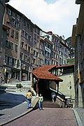 Historic buildings in old part of city of Lausanne, Switzerland, 1974 covered stretch of steps in street