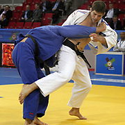 France's Cyril MARET (R) and BEL's Van Der GEEST (L) during their men's 100 kg. category bout at the European Judo Championships in the Abdi Ipekci Arena, Istanbul, Turkey on 23 April 2011. Photo by TURKPIX