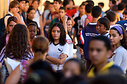 Belo Horizonte_MG, Brasil...Prova da 2a Olimpiada Escolar de Conhecimento promovido na Escola Municipal Luiz Gatti no Bairro Conjunto Ademar Maldonado, Barreiro. Na foto uma aluna aguardando para entrar na sala...2nd Olympiad of Knowledge, promoted at the Municipal School Luiz Gatti Set Ademar, in the Conjunto Ademar Maldonado neighborhood, Barreiro. In this photo, a student waiting to enter the classroom...Foto: NIDIN SANCHES / NITRO
