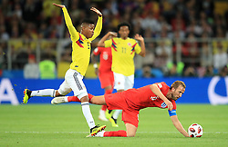 Colombia's Wilmar Barrios (left) and England's Harry Kane battle for the ballduring the FIFA World Cup 2018, round of 16 match at the Spartak Stadium, Moscow.