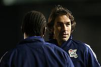 Rugby Union - 2012 Rugby Legends Match - British & Irish Legends vs. French Legends.Robert Pires talks to Serge Betsen at Twickenham Stoop, London