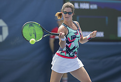 August 22, 2017 - New York, New York, United States - Jamie Loeb of USA returns ball during qualifying game against Na-Lae Han of Korea at US Open 2017 (Credit Image: © Lev Radin/Pacific Press via ZUMA Wire)