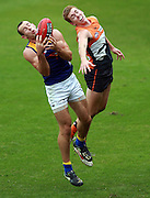 Shannon Hurn of the Eagles beats Jacob Townsend of the Giants to take the mark during the AFL Round 03 match between the GWS Giants and the West Coast Eagles at Blacktown International Sportspark, Blacktown. (Photo: Craig Golding/AFL Media)