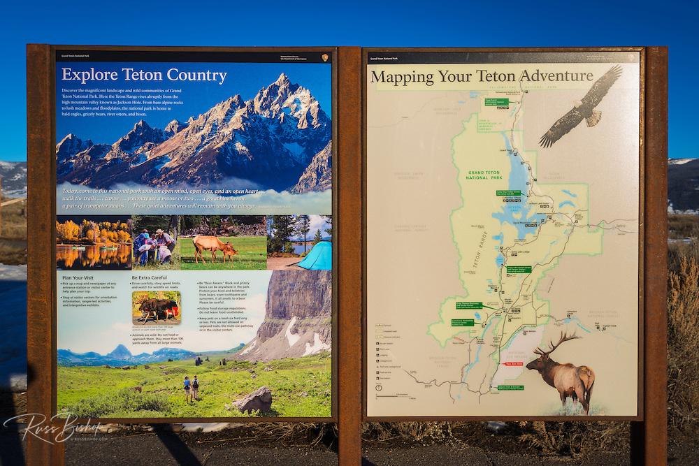Interpretive sign, Grand Teton National Park, Wyoming USA