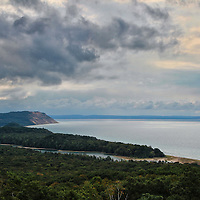 """""""Empire Bluffs from Afar""""<br />     A scenic view of Empire Bluff, North Bar Lake and Lake Michigan on a stormy day!<br /> <br /> The Great Lakes by Rachel cohen"""