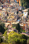 Roof top Arial view of Taormina Sicily, Italy .<br /> <br /> Visit our SICILY PHOTO COLLECTIONS for more   photos  to download or buy as prints https://funkystock.photoshelter.com/gallery-collection/2b-Pictures-Images-of-Sicily-Photos-of-Sicilian-Historic-Landmark-Sites/C0000qAkj8TXCzro