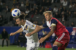 May 30, 2018 - Carson, California, U.S - Zlatan Ibrahimovic #9 of the LA Galaxy heads the ball during their MLS game against FC Dallas on Wednesday, May 30, 2018 at the Stub Hub Center in Carson, California. LA Galaxy Lose to FC Dallas, 2-3. (Credit Image: © Prensa Internacional via ZUMA Wire)