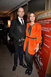Yasmin Mills and Justin Horne at a private screening of Jackie hosted by Rosie Nixon and Tabitha Webb at the Bulgari Hotel, 171 Knightsbridge, London,  England. 12 January 2017.
