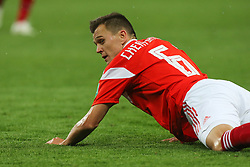 June 19, 2018 - Saint Petersburg, Russia - Denis Cheryshev (R) of the Russia national football team vie for the ball during the 2018 FIFA World Cup match, first stage - Group A between Russia and Egypt at Saint Petersburg Stadium on June 19, 2018 in St. Petersburg, Russia. (Credit Image: © Igor Russak/NurPhoto via ZUMA Press)