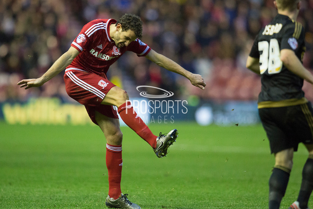Middlesbrough FC striker Christian Stuani (18) shoots at goal during the Sky Bet Championship match between Middlesbrough and Nottingham Forest at the Riverside Stadium, Middlesbrough, England on 23 January 2016. Photo by George Ledger.