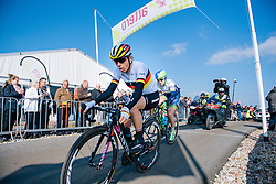 Trixi Worrack tops the VAMberg for the second time in third place, with Gracie Elvin on her wheel - Ronde van Drenthe 2016, a 138km road race starting and finishing in Hoogeveen, on March 12, 2016 in Drenthe, Netherlands.