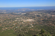 Raised view over Parcent village and Pop Valley, La Marina Alta, Alicante province, Spain