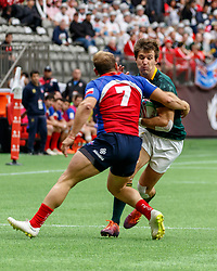 March 9, 2019 - Vancouver, BC, U.S. - VANCOUVER, BC - MARCH 10: Igancio Silva (c) #7 of Chile tackles South African player during Game #7- South Africa 7s vs Chile 7s in Pool A match-up at the Canada Sevens held March 9-10, 2019 at BC Place Stadium in Vancouver, BC, Canada.(Photo by Allan Hamilton/Icon Sportswire) (Credit Image: © Allan Hamilton/Icon SMI via ZUMA Press)
