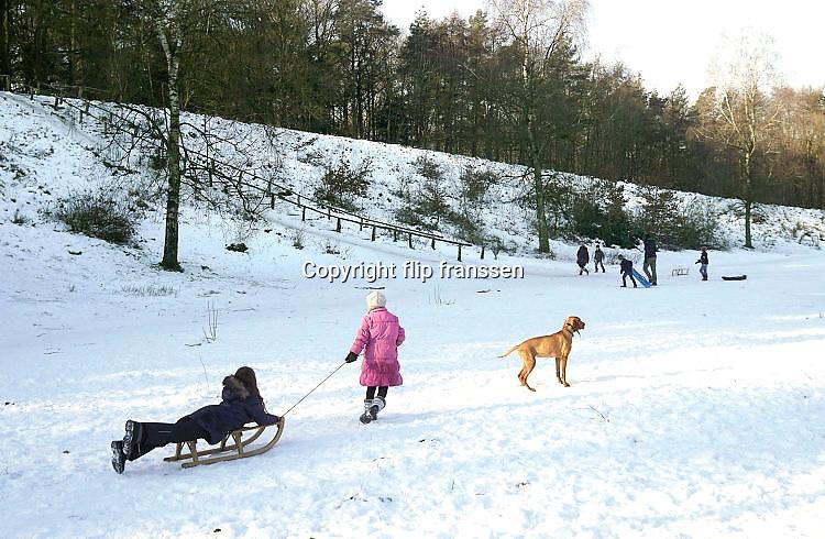 Nederland, Berg en Dal, 22-1-2017In de bossen rond Nijmegen gaan veel mensen wandelen of laten hun hond uit in het sneeuwlandschap. Kinderen spelen met hun slee. Ook de honden vinden het leuk. FOTO: FLIP FRANSSEN