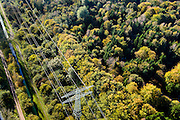 Nederland, Flevoland, Hulkesteinse Bos, 28-10-2014; hoogspanningslijn door bos in herfstkleuren.<br /> Power line through forest in autumn colors.<br /> luchtfoto (toeslag op standard tarieven);<br /> aerial photo (additional fee required);<br /> copyright foto/photo Siebe Swart