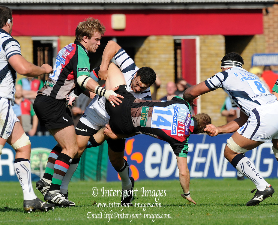 Twickenham, GREAT BRITAIN, Bristols, Mariano SAMBUCETTI, up ends, Quins, David STRETTLE, during the Guinness Premiership match,  Harlequins vs Bristol Rugby, at The Stoop Stadium, Surrey on Sat 13.09.2008. [Photo, Peter Spurrier/Intersport-images]