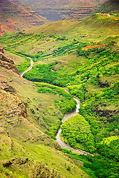 """Meandering Waimea River and Waimea Canyon, the """"Grand Canyon of the Pacific"""", approximately one mile wide and ten miles long, more than 3,500 feet deep, State Park, Kauai, Hawaii"""