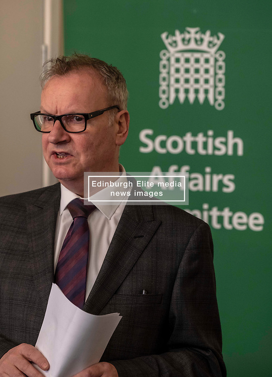 Pictured: Pete Wishart<br /> <br /> Today at the Crew 2000 offices in Edinburgh, the chair of the Scottish Affairs Committee Pete Wishart MP launched an inquiry into drug misuse in Scotland.  He was joined by members of his committee, Tommy Shephard (SNP), Danielle Rowley MP (Labour) and Christine Jardine (Lib Dem)<br /> <br /> <br /> Ger Harley   EEm 4 March 2019