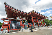 The main hall of the Sensoji Buddhist temple in Asakusa, Tokyo, Japan. The temple was built during the Kamakura period in 645 CE and is the oldest and most important temple in Tokyo.