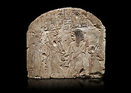 Ancient Egyptian stele depicting Sethy I adoring Amenhotep I and Nefertari, limestone, New Kingdom, 19th Dynasty, (1279-1213 BC), Deir el-Medina,  Egyptian Museum, Turin. Black background. Schiaparelli Cat 6189. .<br /> <br /> If you prefer to buy from our ALAMY PHOTO LIBRARY  Collection visit : https://www.alamy.com/portfolio/paul-williams-funkystock/ancient-egyptian-art-artefacts.html  . Type -   Turin   - into the LOWER SEARCH WITHIN GALLERY box. Refine search by adding background colour, subject etc<br /> <br /> Visit our ANCIENT WORLD PHOTO COLLECTIONS for more photos to download or buy as wall art prints https://funkystock.photoshelter.com/gallery-collection/Ancient-World-Art-Antiquities-Historic-Sites-Pictures-Images-of/C00006u26yqSkDOM
