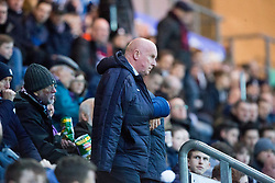 Falkirk's manager Peter Houston in the stand at the start of the second half. Falkirk 0 v 1 Morton, Scottish Championship game played 18/3/2017 at The Falkirk Stadium.