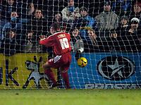 Photo. Richard Lane.<br />Wycombe Wanderers v Leyton Orient. Coca Cola League Two. 29/12/2005.<br />Orient's Lee Steele scores his goal.